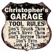 BPG0011 CHRISTOPHER'S GARAGE TOOL RULES Shield Sign Man Cave Decor Funny Gift