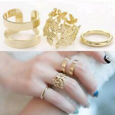 3pcs Fashion Vintage Punk Style Gold/Silver Plated Leaf Above Knuckle Midi rings