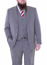 Stacy Adams Mens Light Gray Pinstriped Three Piece Suit With Peak Lapels