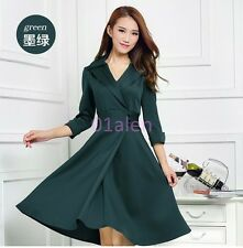 Spring Chic Women Knee Length Dress Trench Slim Fit Dust Coats 3/4 Sleeve Length