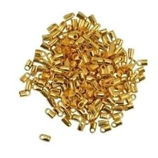 100 Packs of Brass Tube Crimp End Beads Jewelry Findings 7x3.8mm-Gold/Silver