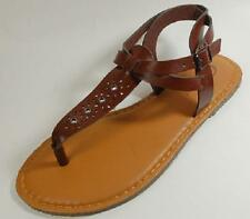 NEW Women's S.O. CURFEW Brown Buckle Flat Thongs Sandals Dress Casual Shoes