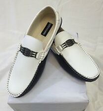 MENS GIOVANNI SHOES Loafer Fashion Italian Casual Slip-On TWO TONE WHITE BLACK