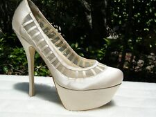 BEBE SHOES PLATFORM PUMPS heels Sofia beige tap 9