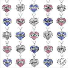 new,Affection,Family Crystal Love Heart Pendant Rhinestone Necklace Chain Charm