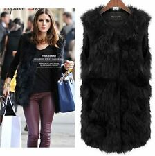 Women Winter Warm Faux Fur Shaggy Sleeveless Vest Coat Jacket Outwear Waistcoat