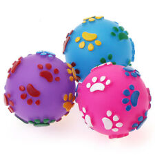 Pet Squeaky Ball with Colorful Paw Pattern Puppy Fetch Toy Throw Play Chiwava