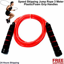 Speed Skipping Rope Fitness Plastic Foam Grip Boxing MMA Sports Training 3Meter