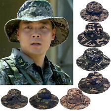 MENS WOMENS FISHING HIKING BOONIE CAP SNAP BRIM MILITARY CAMO ARMY BUCKET HAT