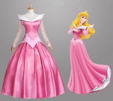 Movie Sleeping Beauty Princess Aurora Deluxe Pink Dress Cosplay Adult Costume