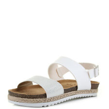 Womens White and Silver Gladiator Slingback Sandals Shu Size