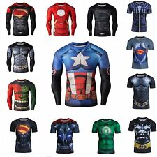 Marvel Superhero Compression Tee T-Shirt Short/Long Sleeve Tights Bicycle Jersey