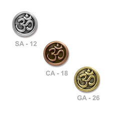 TierraCast Om Button - plated pewter - choose from 3 colors - yoga chakra zen