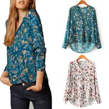 Women Ladies V-Neck Tops Casual Shirts Floral Printed Blouse Long Sleeve T-Shirt