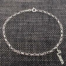 925 Solid Sterling Silver Belcher Ankle Bracelet Anklet With Any Name Charm
