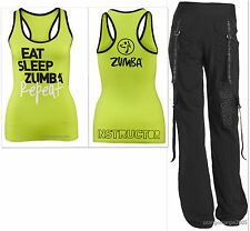 "ZUMBA 2 Pc.SET! ""Feel the Music"" Cargo Capris Pants & INSTRUCTOR RacerBack S M L"