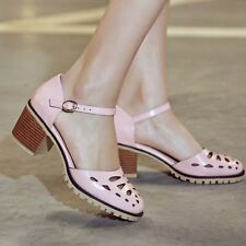 Roma Womens Fashion Cut Hollow Out Mid Cuban Heel Pump Ankle Strap sandals Shoes