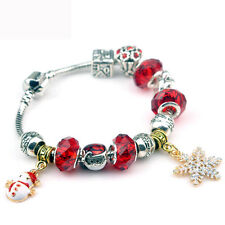 2016 US hot style bracelet With Charm Snowflake Snowman Beads Christmas design