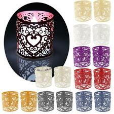 6Pcs Wedding Party Tea Light Holder Laser Cut Heart Paper Lanterns Votive Candle