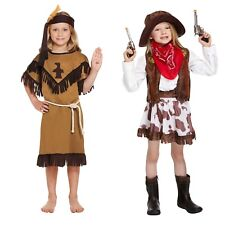 Girls Fancy Wild West Dress Up Costume Cowgirl or Indian Girl 4-6 or 7-9 Years