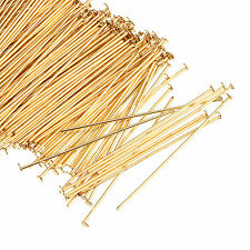 40mm/50mm Jewelry findings Gold Plated Metal Flat Head Pins