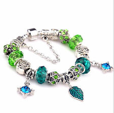 bracelet EU hot Style Light Green Blue Crystal Charm Beads Bracelet Jewelry #61