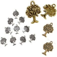 10pcs Antique Silver/Gold/Bronze Plated Tree Pendants DIY Jewelry Making Charms