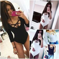 NEW WOMENS SEXY LEOTARD TOP BODYSUIT LADIES LACE UP PLUNGE PLAYSUIT SIZE 8/14