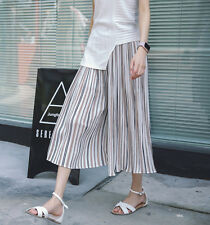New Women Girls Fashion Korean Summer Striped Loose Ankle Length Pants Casual
