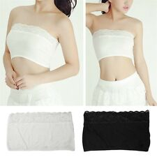 Soft Women Strapless Boob Tube Tops Stretch Bandeau Sexy Bra Lace Summer Hot