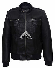 Men's Stylish Black Bomber Luxury Casual Biker Real Soft Lamb Leather Jacket