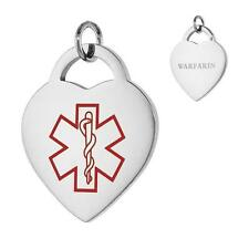 WARFARIN Stainless Steel Medical Alert Heart Pendant  / Charm, Bead Ball Chain