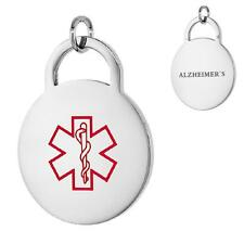 ALZHEIMER'S Stainless Steel Medical Alert Round Pendant / Charm, Bead Ball Chain