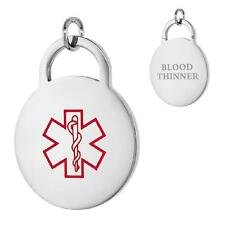 BLOOD THINNER Stainless Steel Medical Round Pendant / Charm,Free Bead Ball Chain
