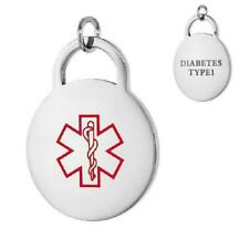 DIABETES TYPE 1 Stainless Steel Medical Round Pendant/Charm,Free Bead Ball Chain