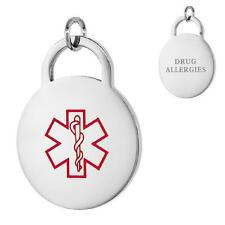 DRUG ALLERGIES Stainless Steel Medical Round Pendant/Charm, Free Bead Ball Chain