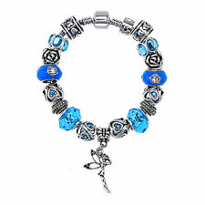 European Style bracelet Charm Crystal Bracelet With Blue Murao Glass Beads