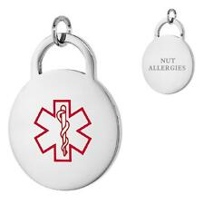 NUT ALLERGIES Stainless Steel Medical Round Pendant / Charm,Free Bead Ball Chain
