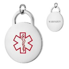 WARFARIN Stainless Steel Medical Round Pendant / Charm, Free Bead Ball Chain