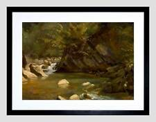 PAUL HUET FRENCH WOODLAND STREAM BLACK FRAME FRAMED ART PRINT PICTURE B12X5394