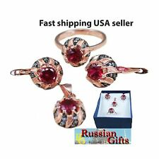Russian 925 silver ruby color CZ earrings ring pendant rose gold plated black