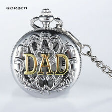 Dad Father Gift Antique Retro Men's Pocket Watch Quartz Pendant Necklace Chain