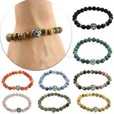 Men's Fashion Multicolor Stone Beaded Stretch Tibetan Silver Lion Head Bracelet