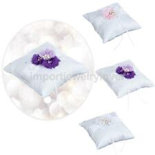 Wedding Bridal Party Ring Bearer Pillow Ring Cushion Crystal Pearl Flower Decor