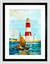 PAINTING SEASCAPE ORFORDNESS LIGHTHOUSE SUFFOLK UK BOAT FRAMED PRINT B12X7209