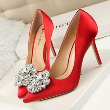 Hot Rhinestone Buckle Womens Shoes High Heels Pointed-toe Stiletto Popular Pumps