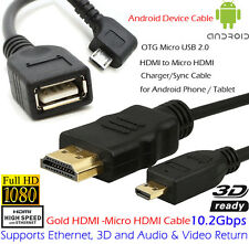 Advanced 6ft 10ft HDMI to Micro HDMI Cable+OTG/Micro USB For TV HDTV LCD Audio