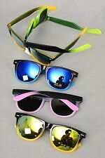 SUNGLASSES RETRO VINTAGE WAYFARER STYLE MEN WOMEN TWO TONE UV400