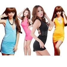 Women Halter Sleeveless Plunge Open Back Mini Club Dress Babydoll Sleep Dress