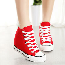 Womens Canvas Hidden Wedge Platform High-Top Lace Up Sneakers Trainers Shoes Sz